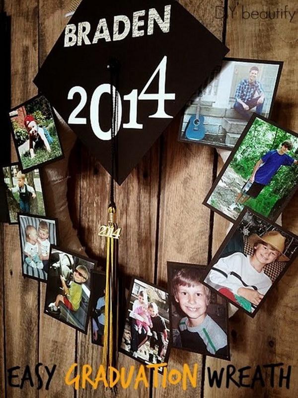 DIY Graduation Photo Wreath