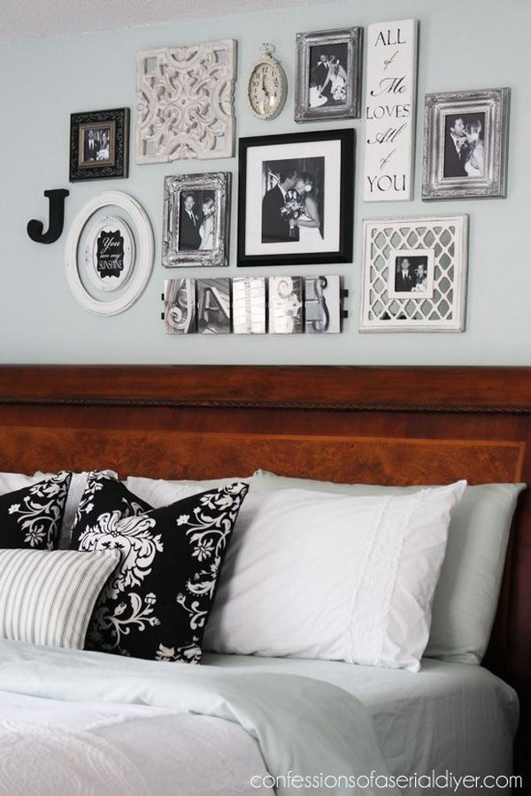 Black and White Bedroom Gallery Wall.