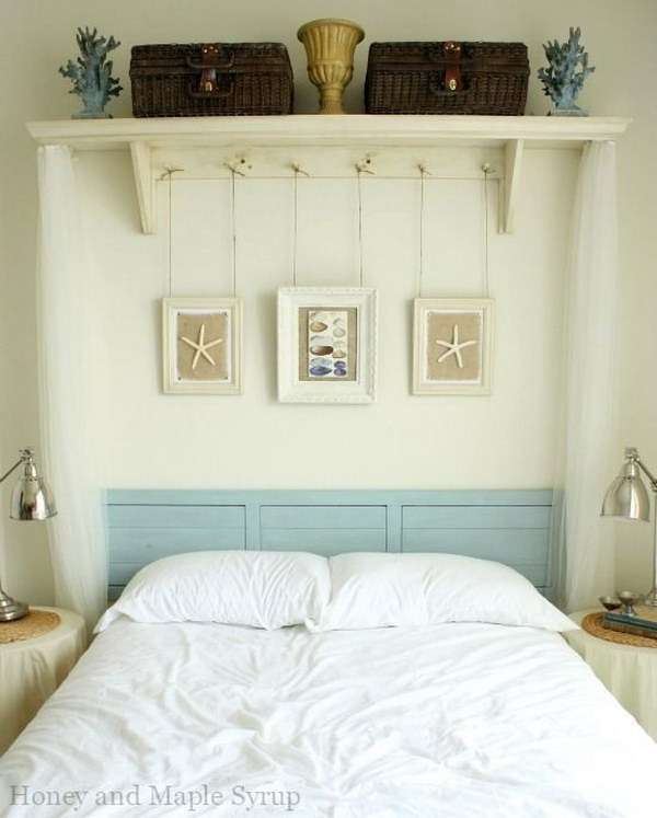 Peg Shelf and Hanging Frames Above the Bed.