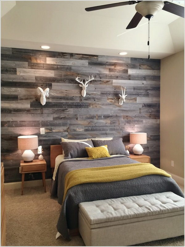 Reclaimed Weathered Wood for Headboard Wall.