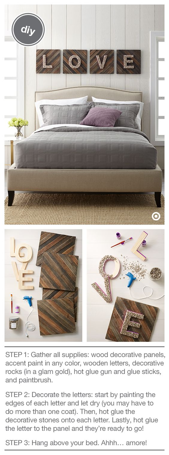 Cool Typography Wall Art with Glittered Wood Love Letters Over Wood Panels.