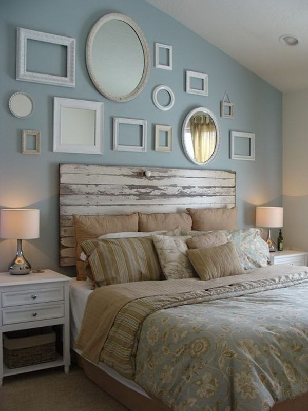 Vintage Mirror Decorations On Headboard Wall.
