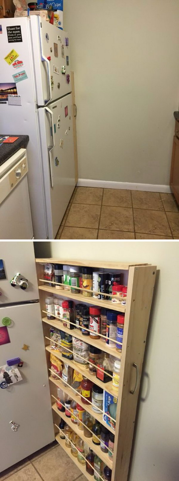 Hidden Fridge Gap Slide Out Pantry.