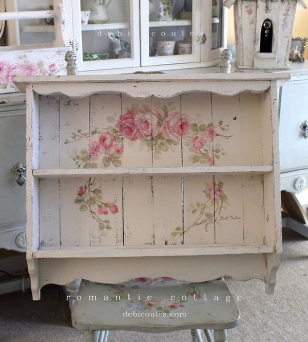 Shabby Chic Large Vintage Style Roses Shelf.