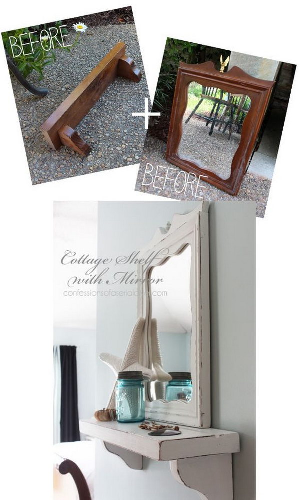 Cottage Inspired Shelf With Mirror From Thrifty Finds.