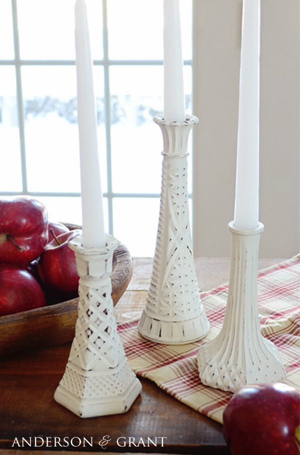 DIY Distressed Candlesticks from Thrift Store Glass Candlesticks
