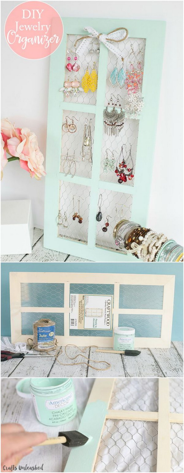 Chicken Wire DIY Jewelry Holder.