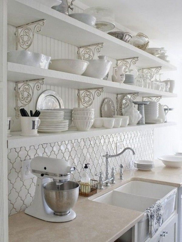 White Shabby Chic Kitchen Wall Shelves.