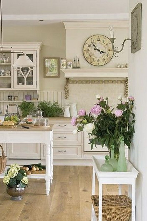 Shabby Chic Kitchen with Island.