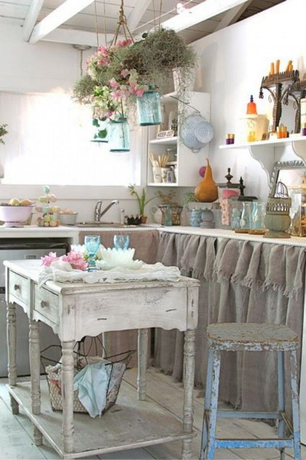 Rustic Shabby Chic Kitchen with Burlap Sink Skirt.
