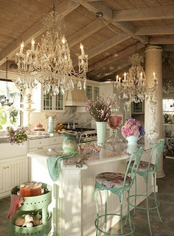 Sparkling French Shabby Chic Kitchen.
