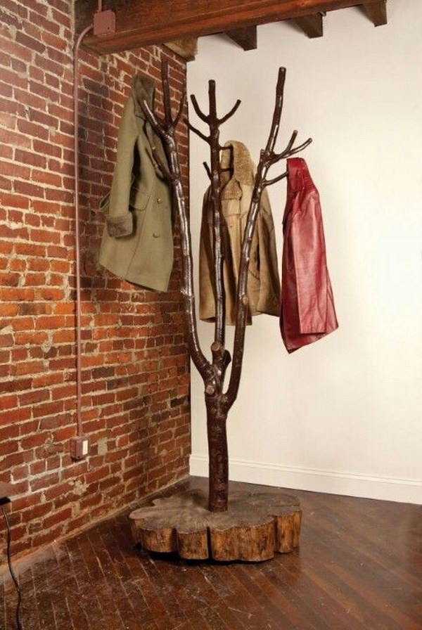 DIY Tree shaped Coat Rack.