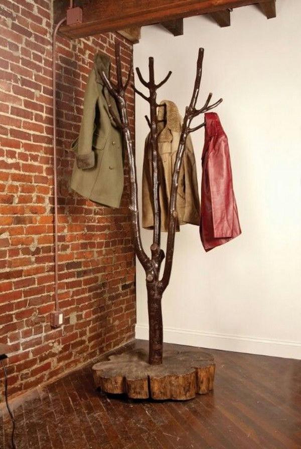 DIY Tree shaped Coat Rack.
