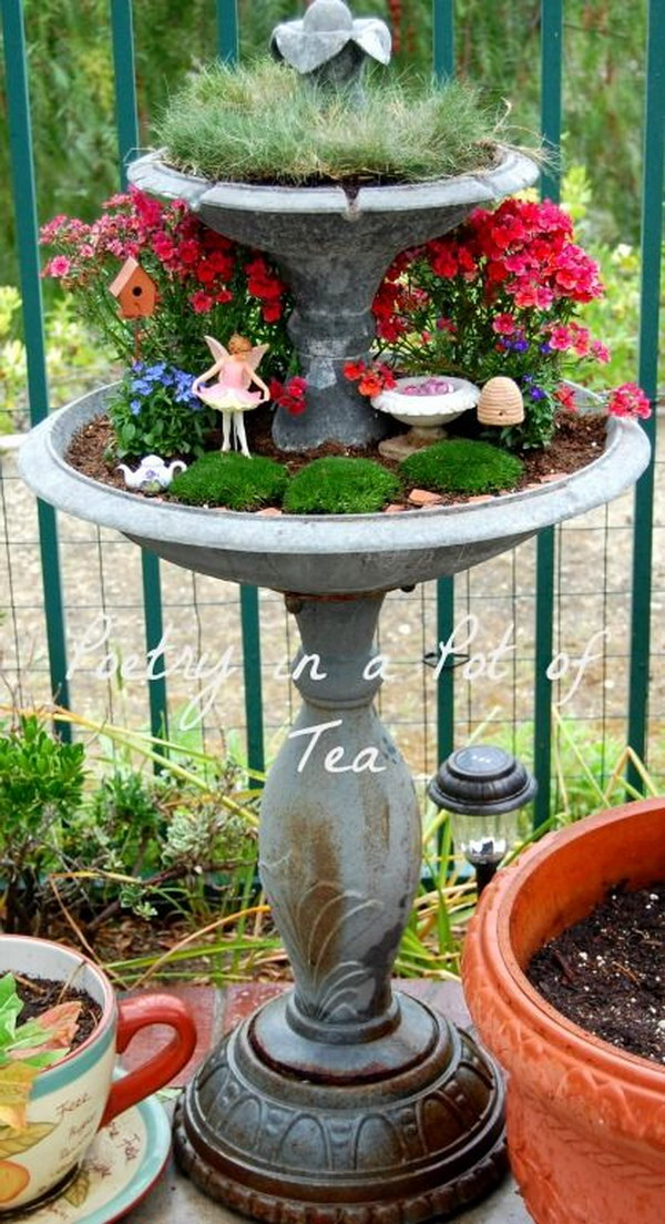 DIY Fairy Garden From Repurposed Fountain