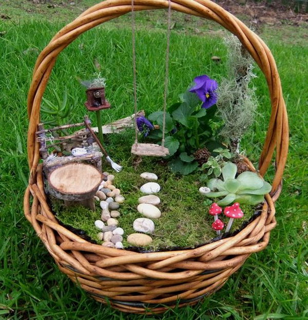 DIY Fairy Garden In An Old Basket