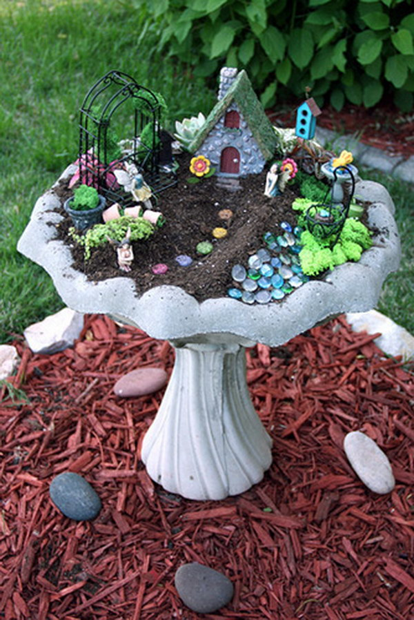 DIY Fairy Garden In A Birdbath