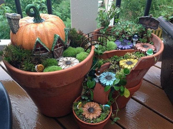 DIY Broken Pots Fairy Garden