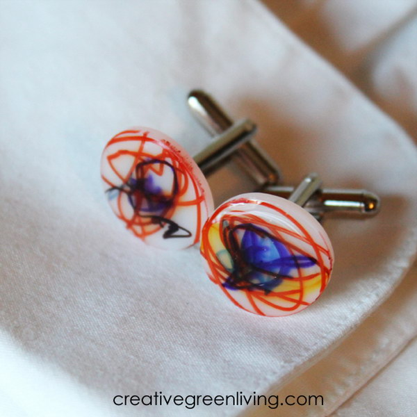 DIY Shrink Film Cufflinks For Dad
