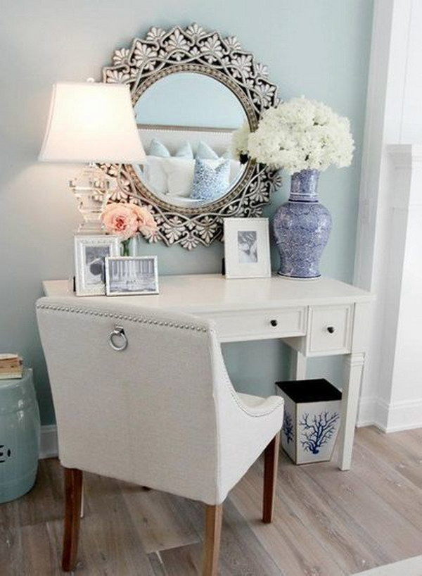 Elegant Pale Blue Makeup Vanity Area