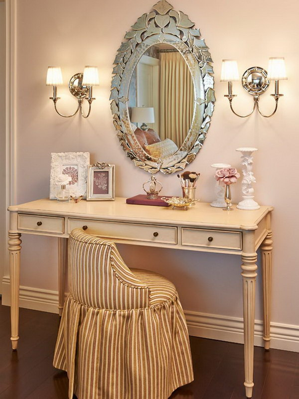 Vintage Style Of Antique Vanity Table Design With Wall Lamps And Oval Mirror Mounted