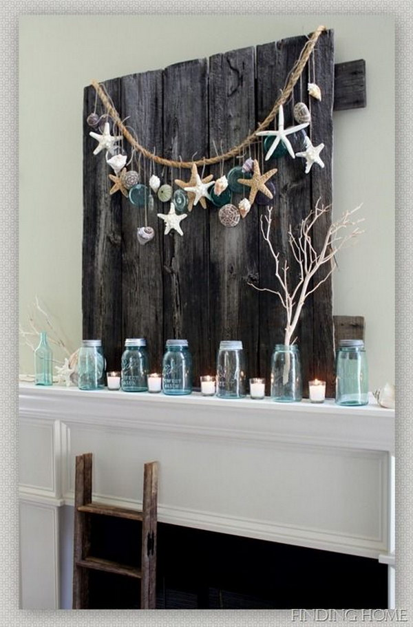 DIY Summer Mantel Decor