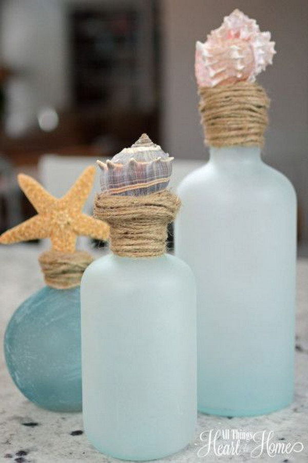 DIY Shell Topped Bottles.