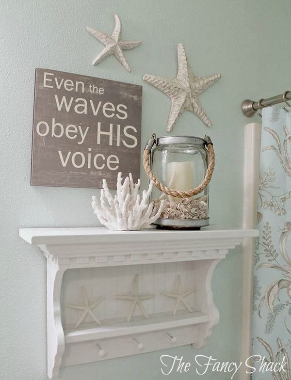 DIY Coastal Bathroom Shelve