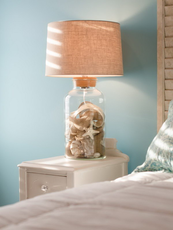 Shell And Burlap Filled Lamp