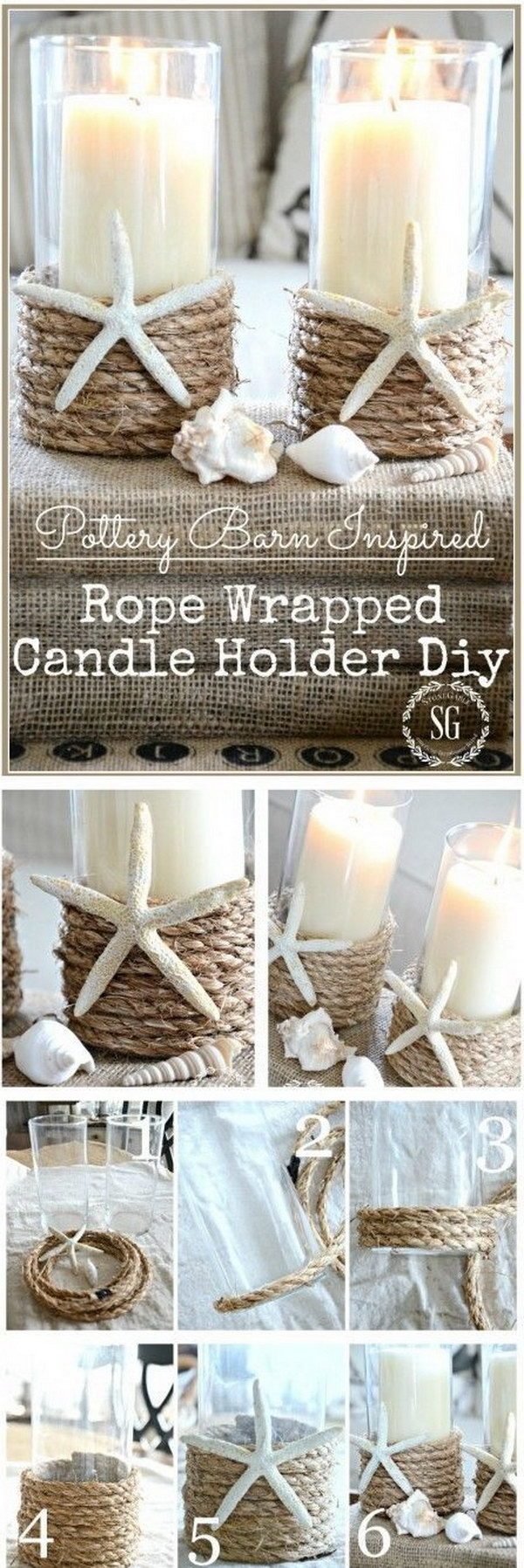 DIY Rope Wrapped Candle Holder