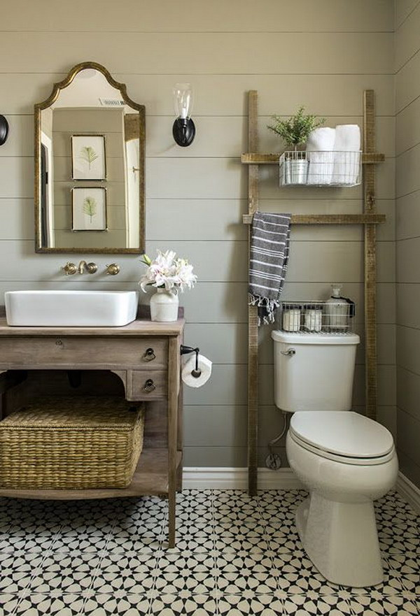 Bathroom Ladder Over The Toilet For Storage.