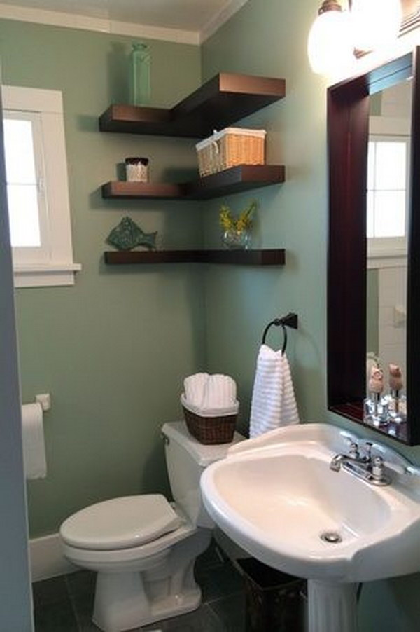 Over The Toilet L Shape Floating Shelves