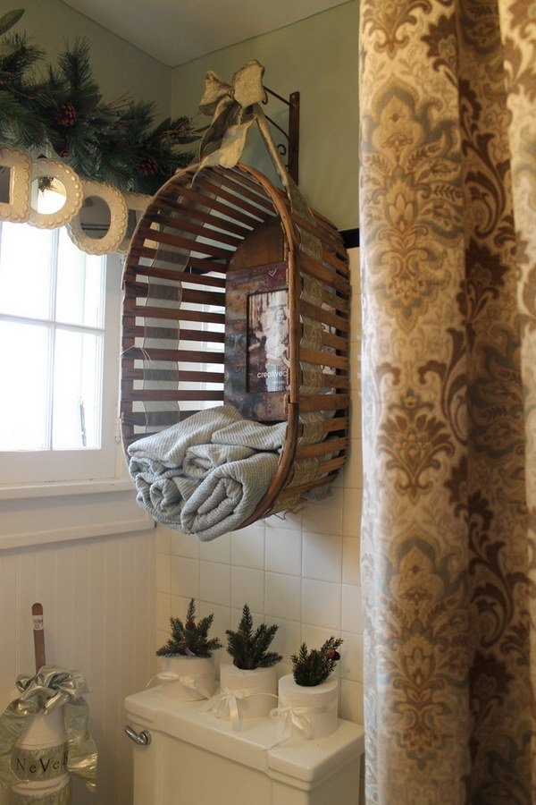 Hanging Basket Over Toilet To Hold Towels