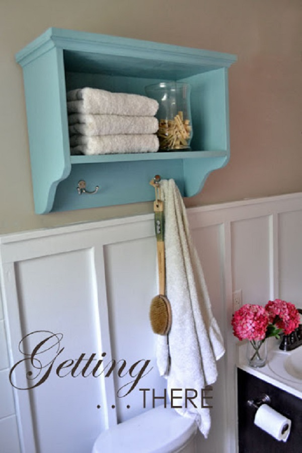 Bath Wall Storage Shelf With Hooks.