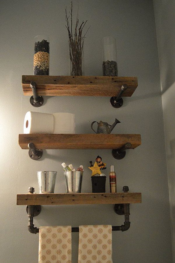 Reclaimed Wood & Pipe Shelves with Towel Bar