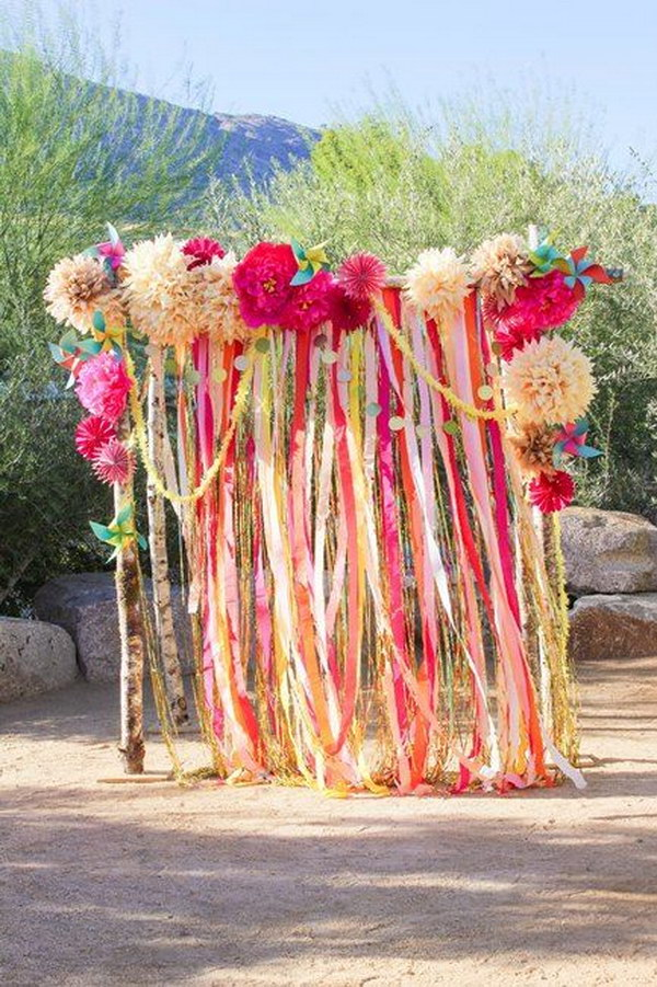 Great Ribbon And Flower Photo Booth Backdrop