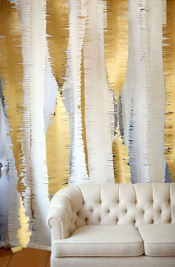 DIY Gold Fringe Backdrop
