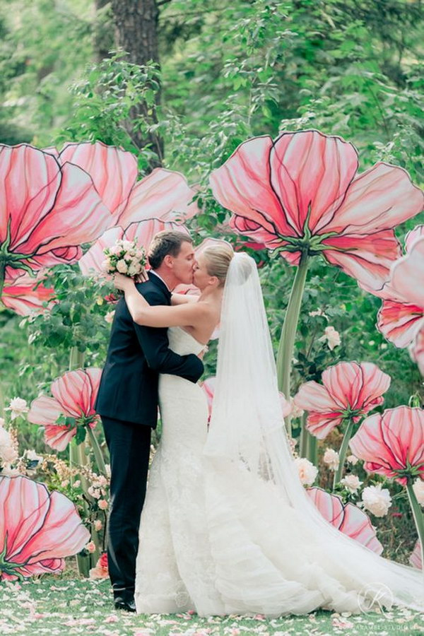 Oversized Paper Flowers Photo Booth Backdrop