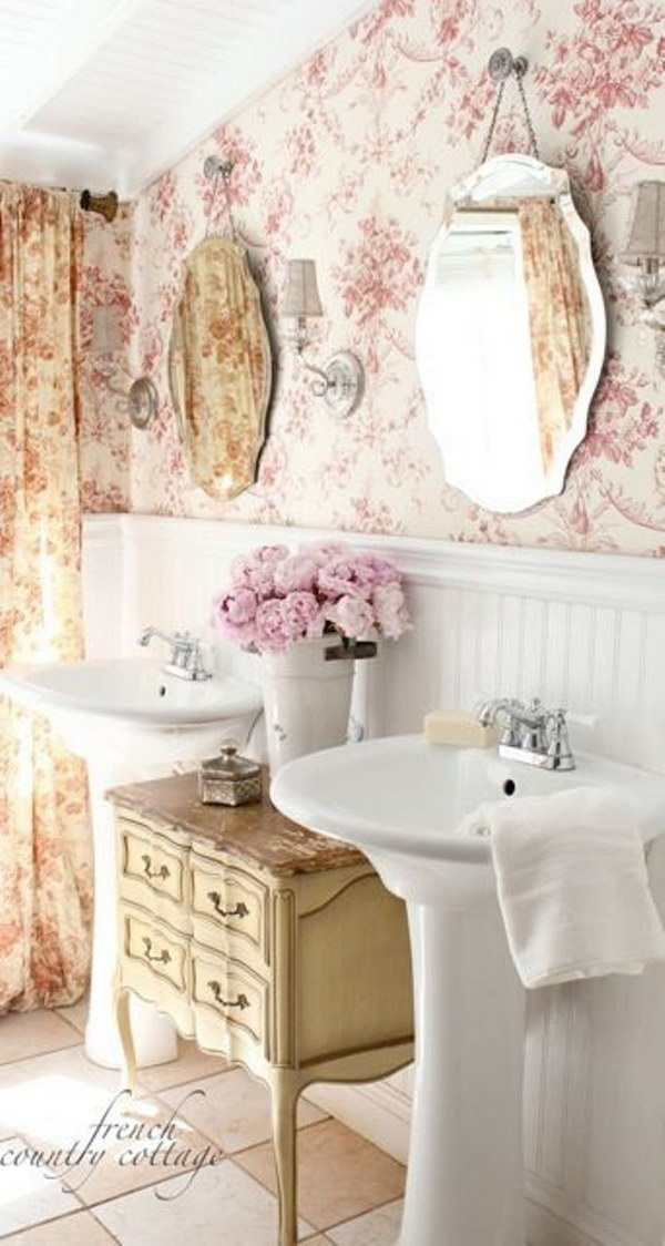 Shabby Chic Bathroom With Wainscoting And Wallpaper