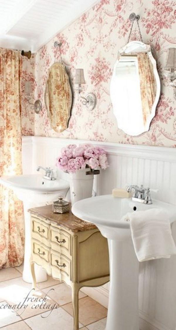 Shabby chic bathroom wallpaper