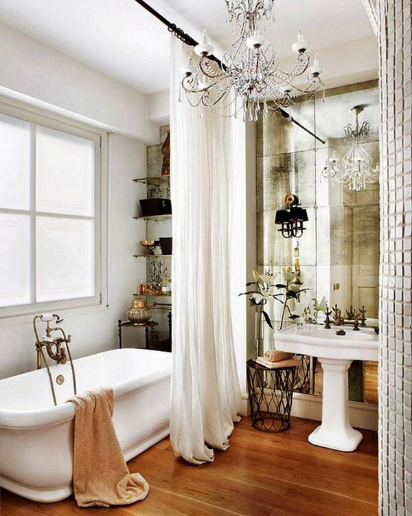 Gorgeous Shower Curtains And Antique Look Mirror