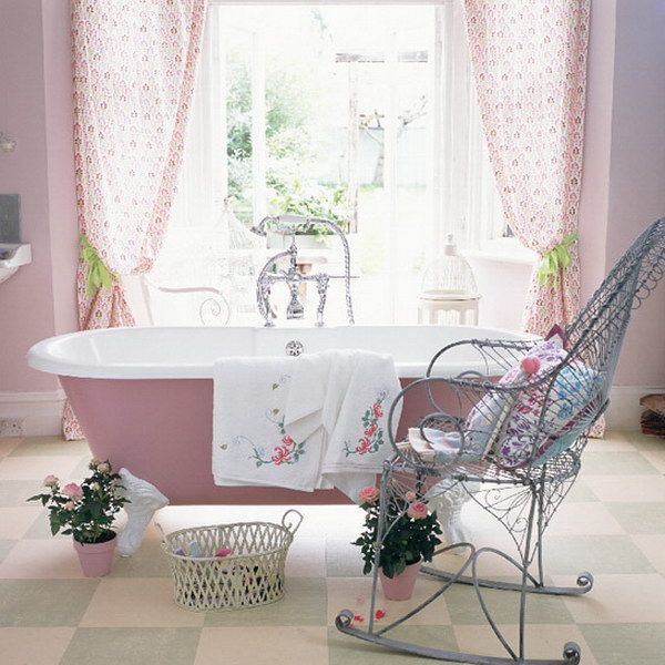 Romantic Pink Bathroom With Vintage Clawfoot Bathtub