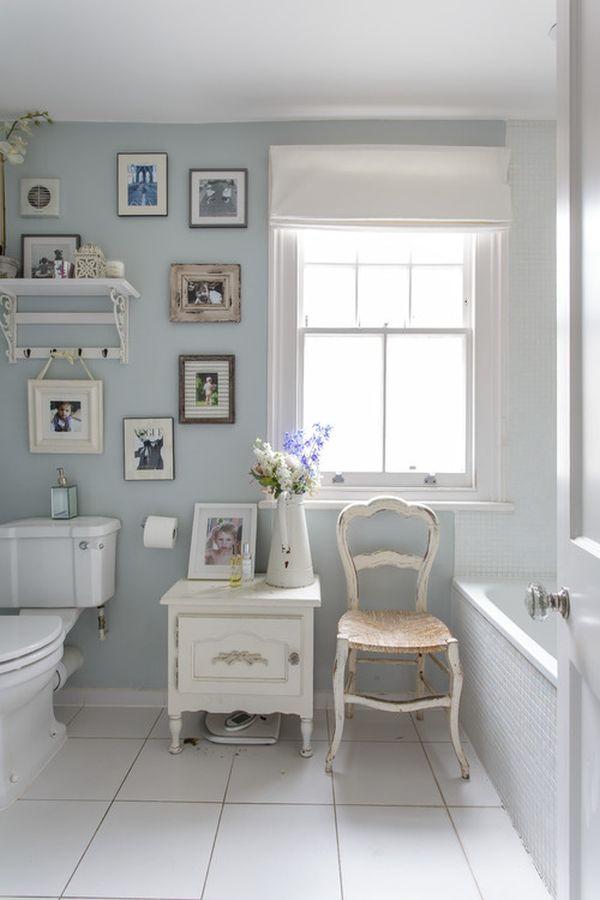 Light Blue Shabby Chic Bathroom Gallery Wall