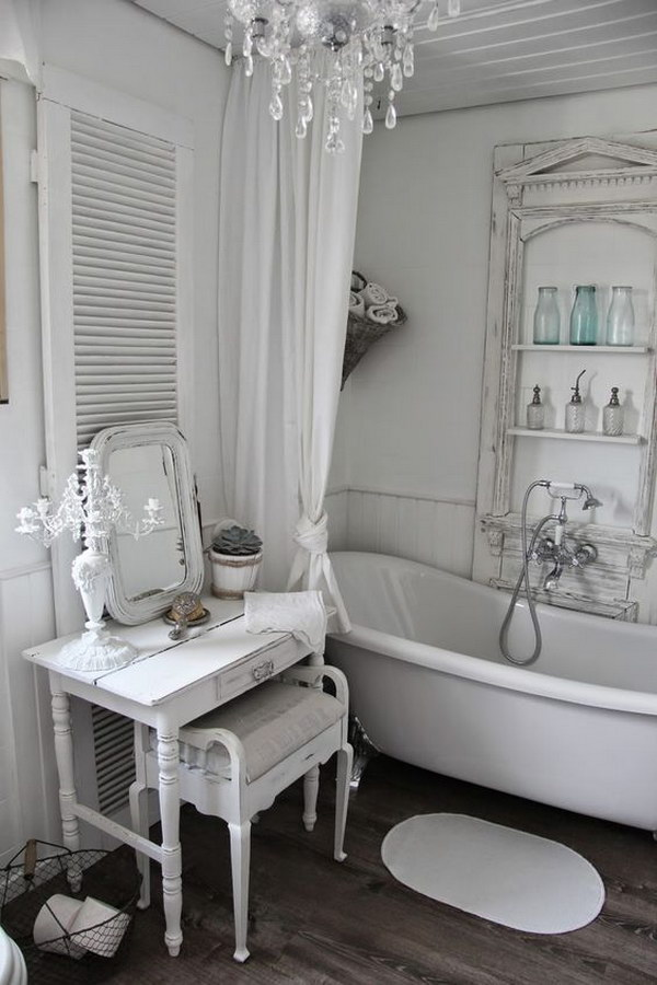 Romantic White Shabby Chic Bathroom