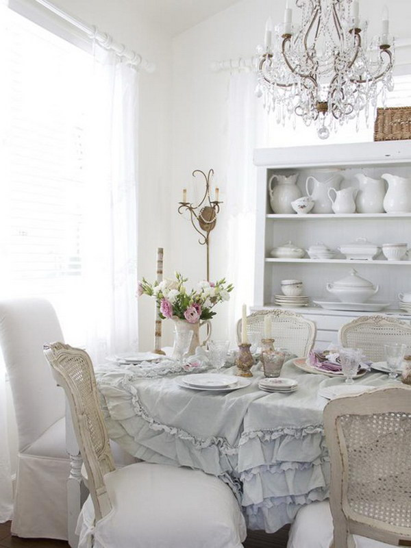White Shabby Chic Dining Room.