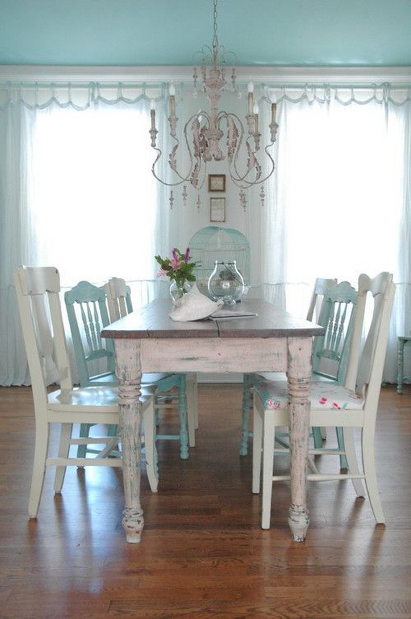 Shabby Chic Dining Room in Blue and White.