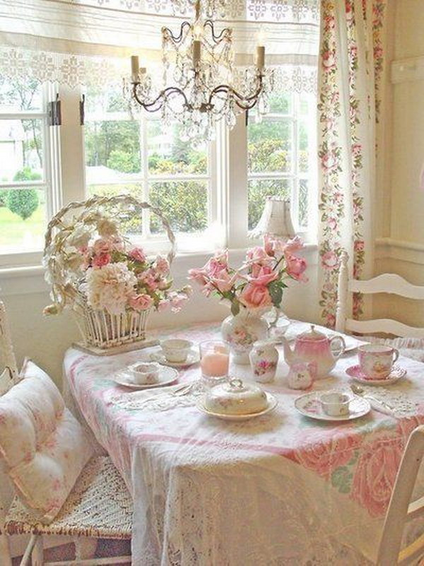 Pink and Romantic Shabby Chic Dining Area.
