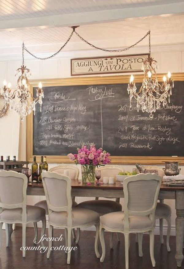 Romantic Dining Room With Chalkboard And Chandelier