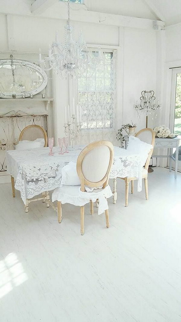 White and Feminine Shabby Chic Dining Room.