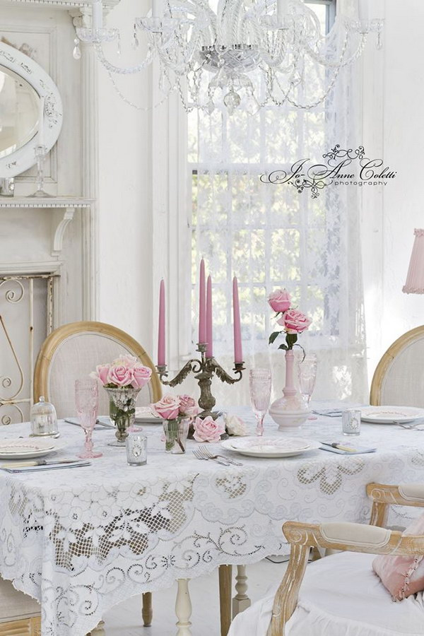 Romantic Shabby Chic Dining Room With Awesome Details.