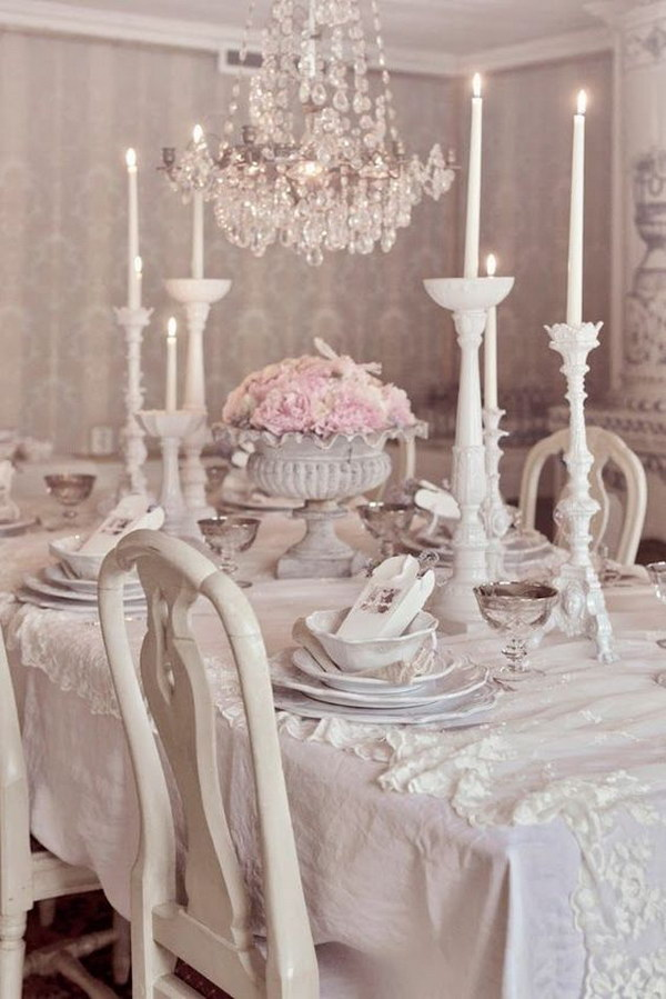This Shabby Chic Dining Room Will Be A Very Romantic And Cozy Place For Enjoying Dinner.